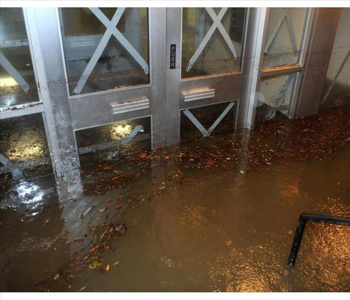 Entrance of a building flooded
