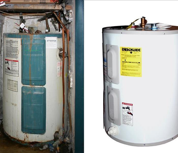 On the left side there is an old rusty water heater and on the right side there is a new water heater.